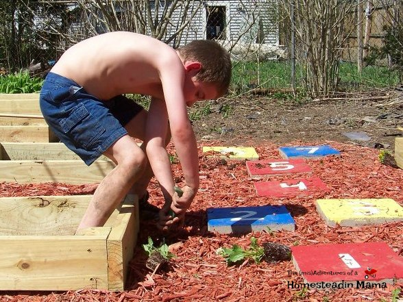 child diy garden hopscotch path