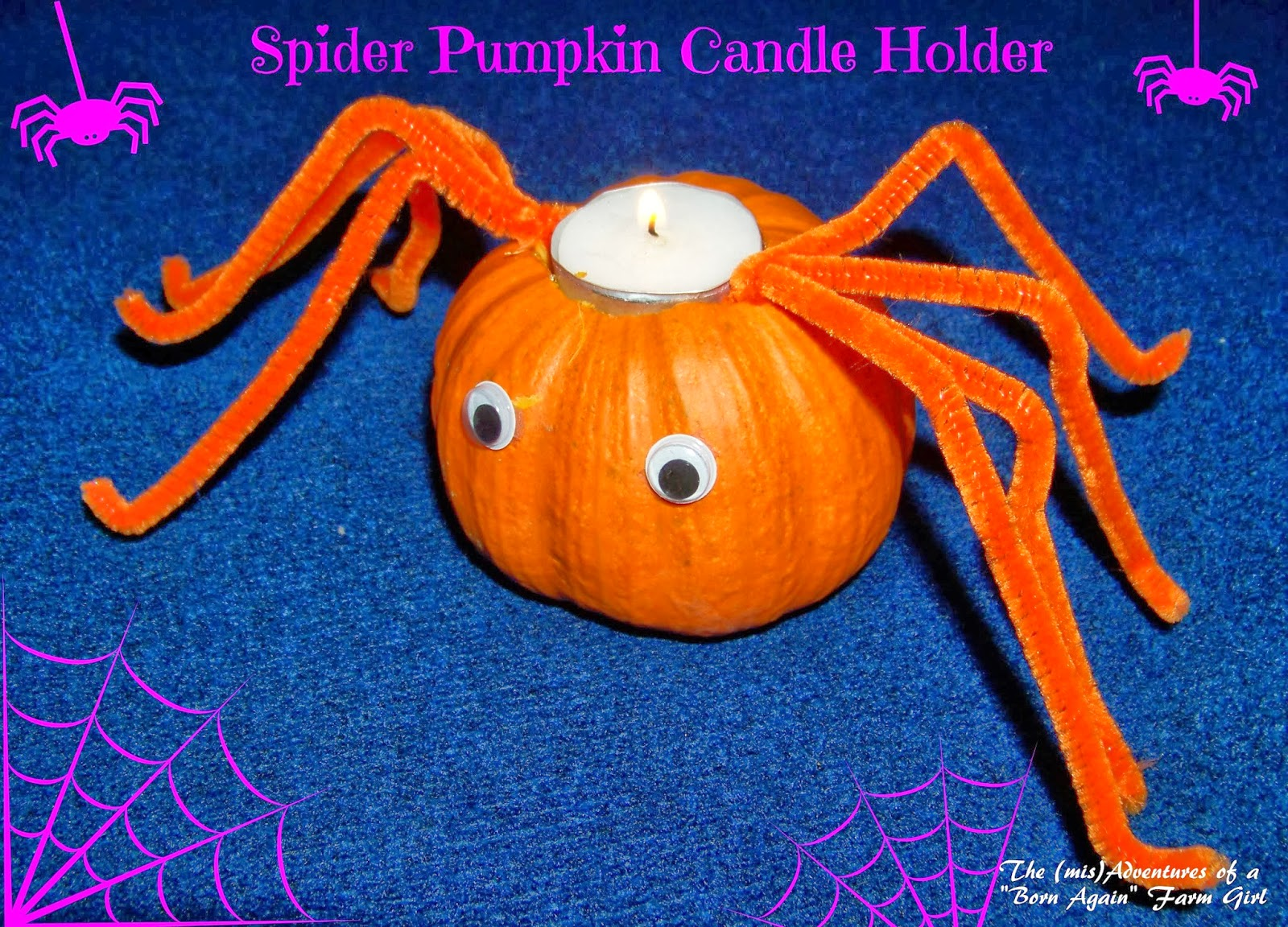 Spider Pumpkin Candle Holder