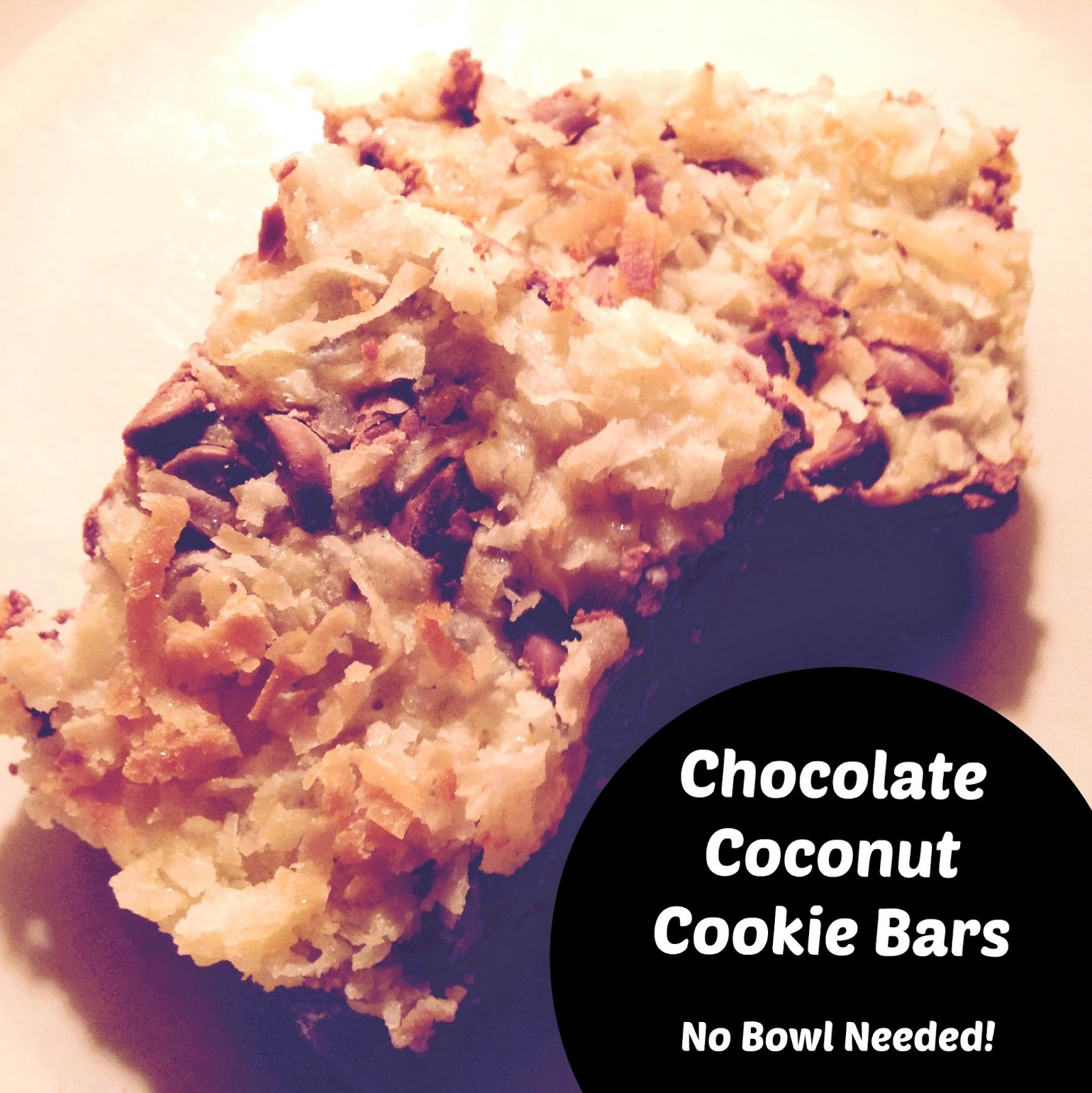 Chocolate Coconut Cookie Bars – No Bowl Needed!!