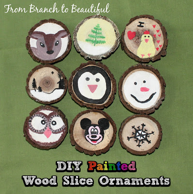 DIY Painted Wood Slice Ornaments