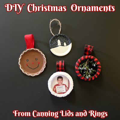 DIY Christmas Ornaments from canning lids