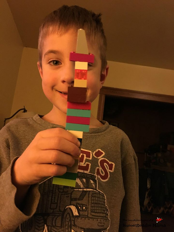 littlest country kid with legos