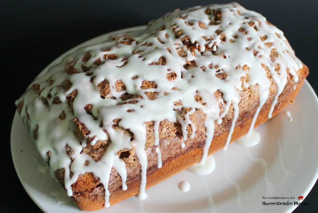 cinnamon roll breakfast bread with icing