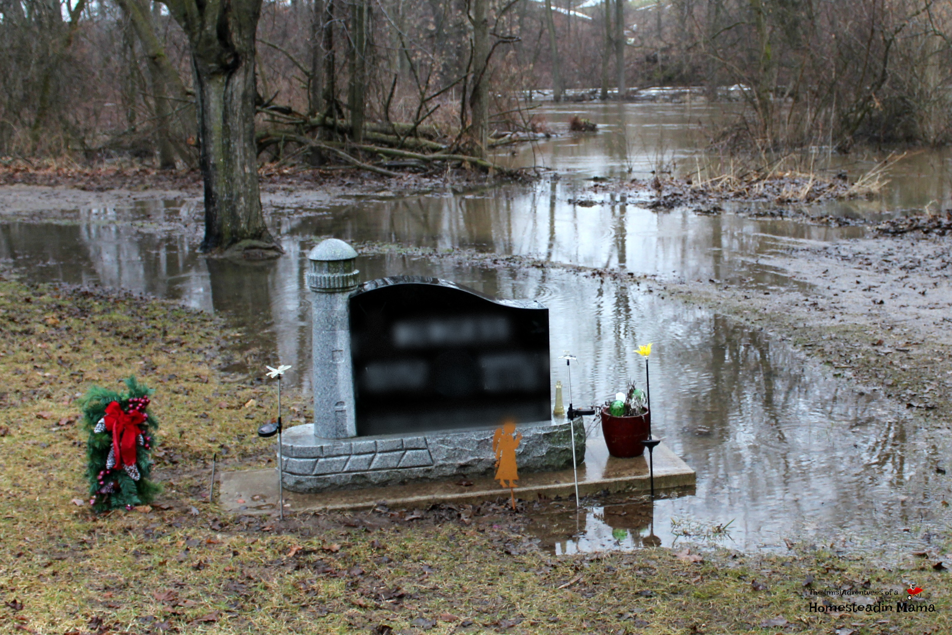 flooding in the cemetary